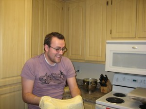Sarah's Kitchen Helper. Look a that look of pure glee on his face!