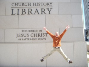 Dad was pretty excited about the church history library!