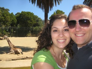Brett & Sarah and our giraffe friend