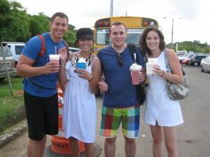 Pina coladas and strawberry banana drinks
