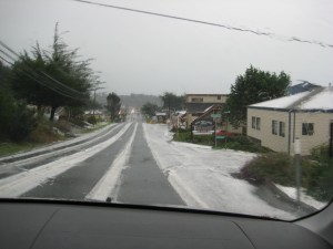 the hail on the side of the road coming into town