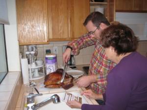 Brett carved the turkey